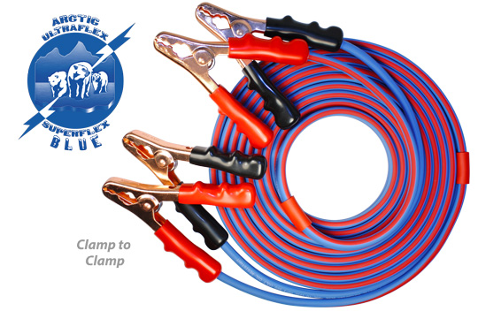 Polar Wire's stock and custom jumper cables are made with Arctic Superflex Blue double conductor cable
